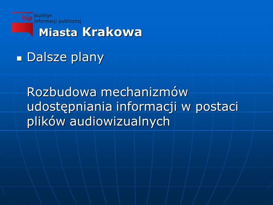 Dalsze plany Dalsze plany Rozbudowa mechanizmów udostępniania informacji w postaci plików audiowizualnych Miasta Krakowa
