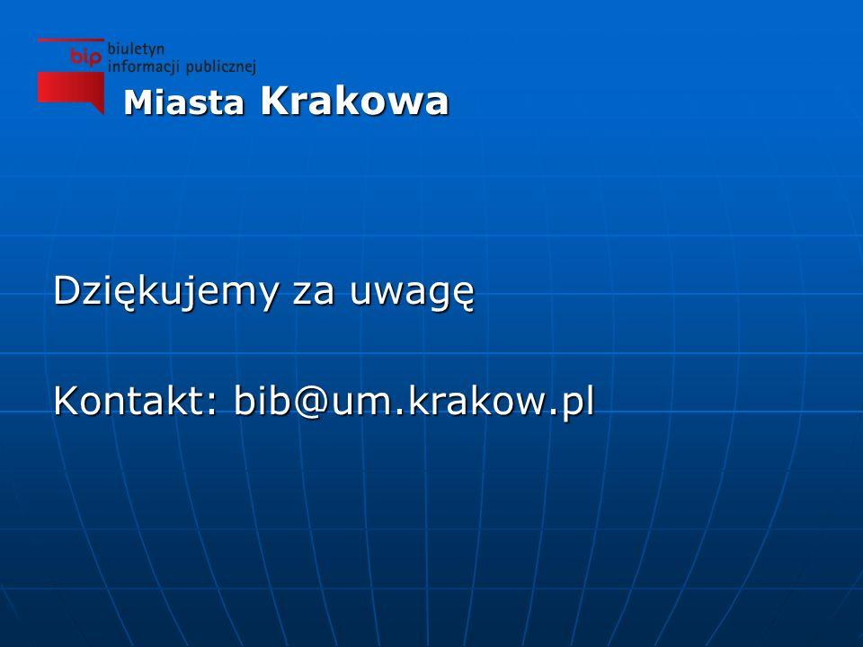 Dziękujemy za uwagę Kontakt: bib@um.krakow.pl Miasta Krakowa
