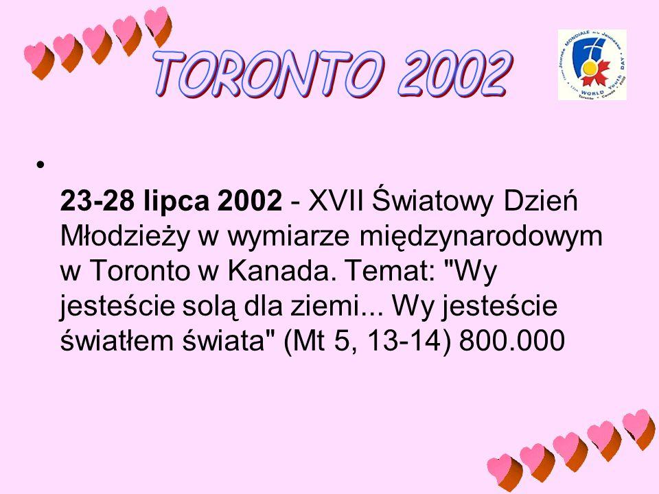 23-28 lipca 2002 - XVII Światowy Dzień Młodzieży w wymiarze międzynarodowym w Toronto w Kanada. Temat: