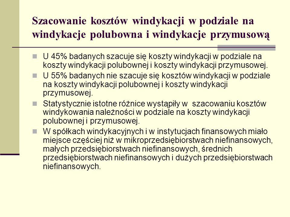 Szacowanie kosztów windykacji w podziale na windykacje polubowna i windykacje przymusową U 45% badanych szacuje się koszty windykacji w podziale na koszty windykacji polubownej i koszty windykacji przymusowej.