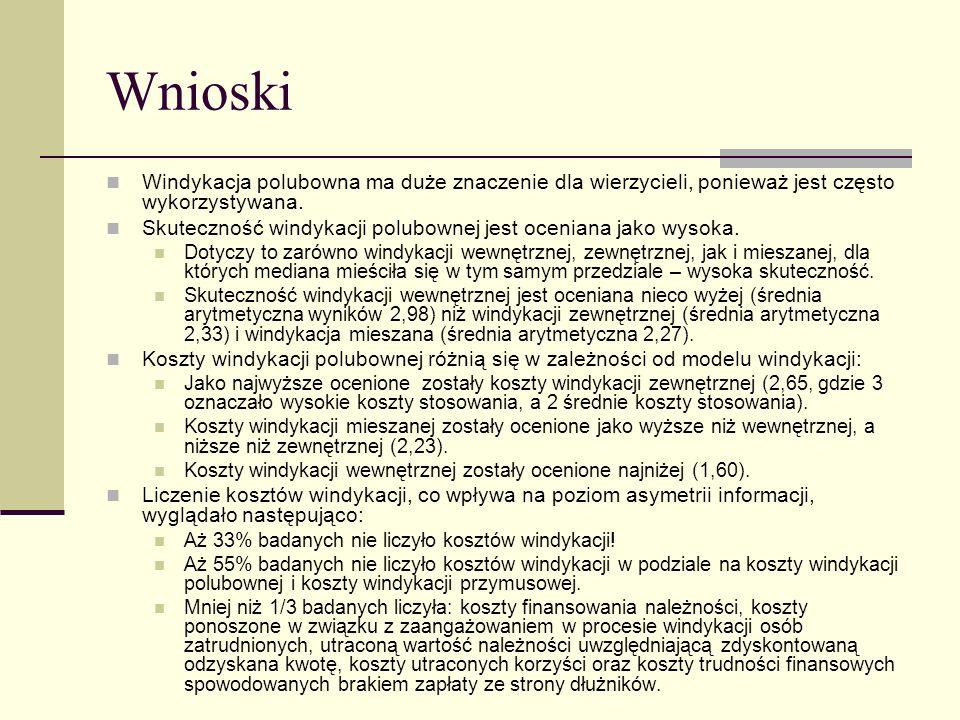Wnioski Windykacja polubowna ma duże znaczenie dla wierzycieli, ponieważ jest często wykorzystywana.