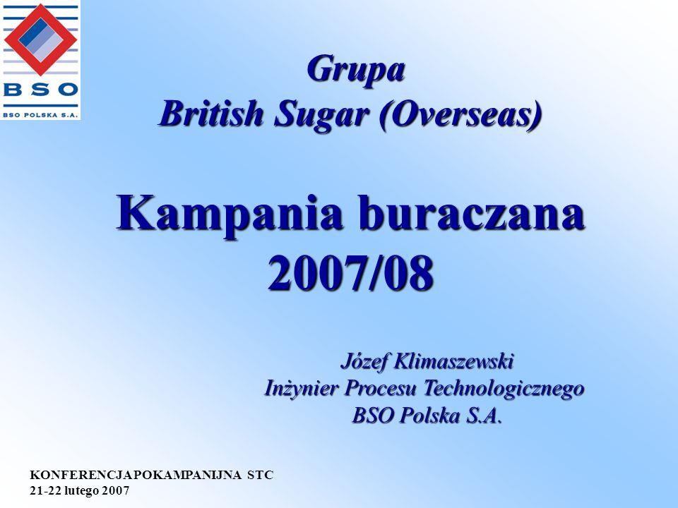 KONFERENCJA POKAMPANIJNA STC 21-22 lutego 2007 Kampania buraczana 2007/08 Grupa British Sugar (Overseas) Grupa British Sugar (Overseas) Józef Klimasze