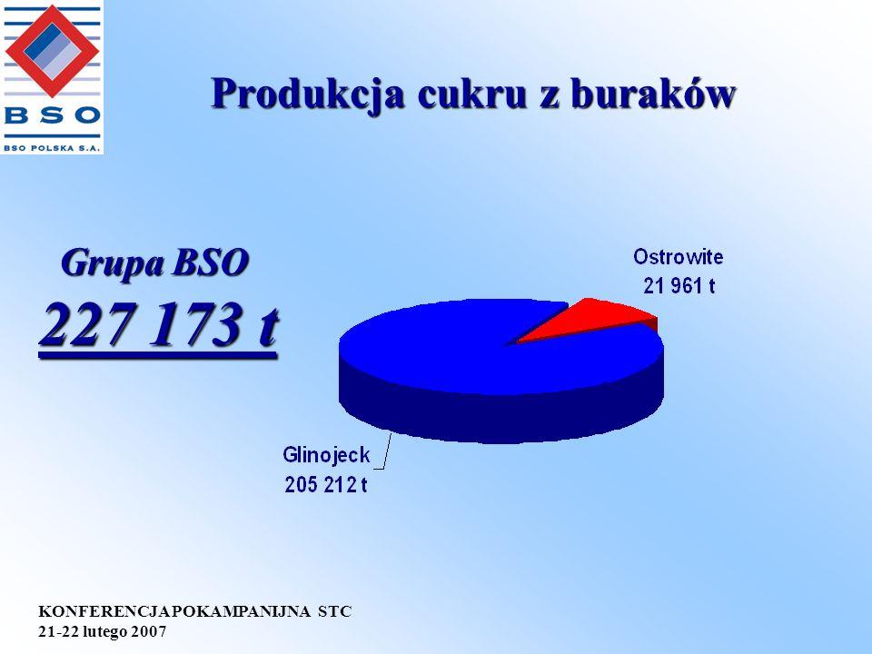 KONFERENCJA POKAMPANIJNA STC 21-22 lutego 2007 Produkcja cukru z buraków Grupa BSO 227 173 t