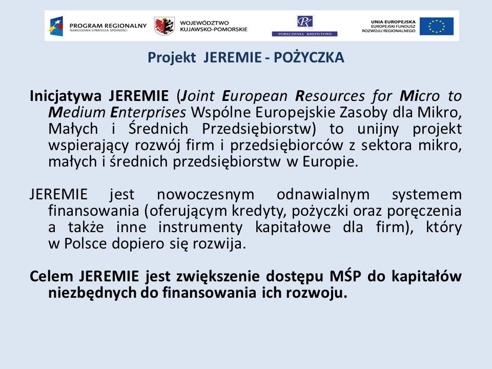 Projekt JEREMIE - POŻYCZKA Inicjatywa JEREMIE (Joint European Resources for Micro to Medium Enterprises Wspólne Europejskie Zasoby dla Mikro, Małych i Średnich Przedsiębiorstw) to unijny projekt wspierający rozwój firm i przedsiębiorców z sektora mikro, małych i średnich przedsiębiorstw w Europie.