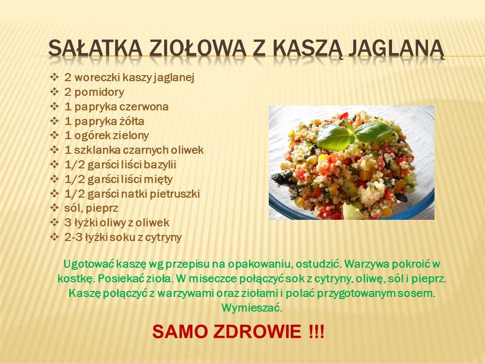  2 woreczki kaszy jaglanej  2 pomidory  1 papryka czerwona  1 papryka żółta  1 ogórek zielony  1 szklanka czarnych oliwek  1/2 garści liści bazylii  1/2 garści liści mięty  1/2 garści natki pietruszki  sól, pieprz  3 łyżki oliwy z oliwek  2-3 łyżki soku z cytryny Ugotować kaszę wg przepisu na opakowaniu, ostudzić.