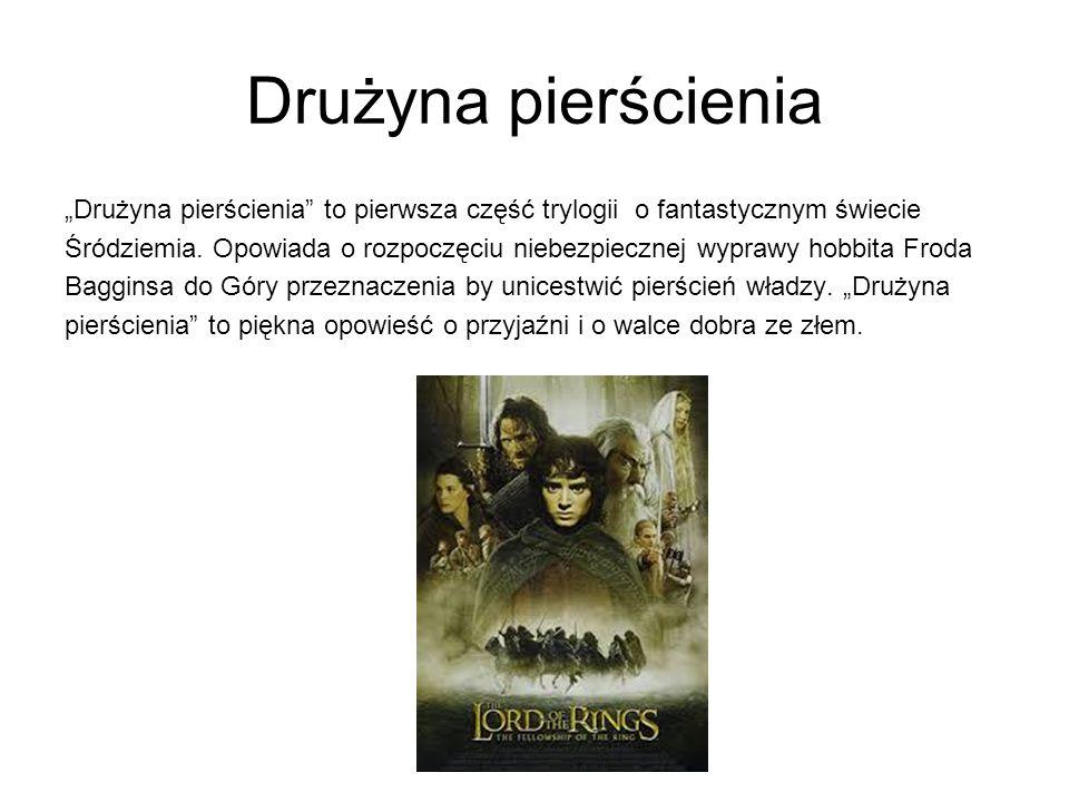 """Drużyna pierścienia """"Drużyna pierścienia to pierwsza część trylogii o fantastycznym świecie Śródziemia."""