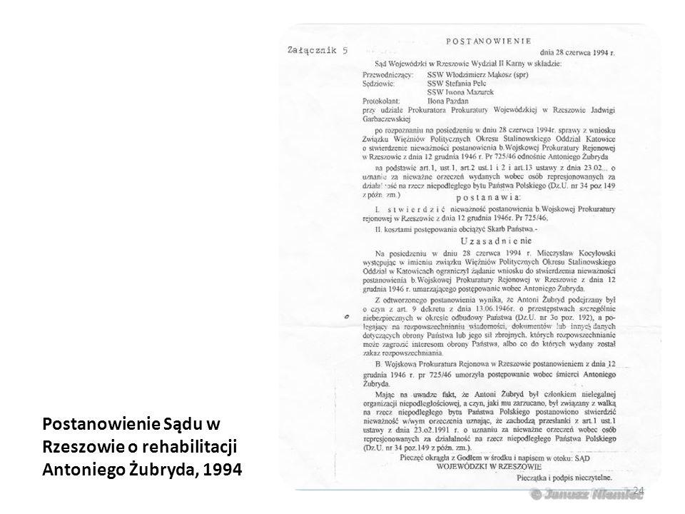 Postanowienie Sądu w Rzeszowie o rehabilitacji Antoniego Żubryda, 1994 24