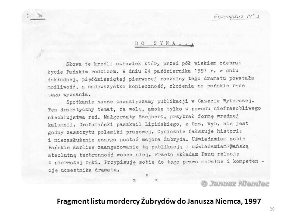 Fragment listu mordercy Żubrydów do Janusza Niemca, 1997 26