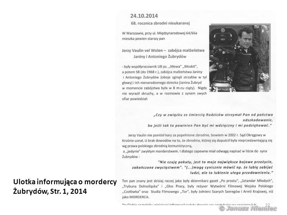 Ulotka informująca o mordercy Żubrydów, Str. 1, 2014 27