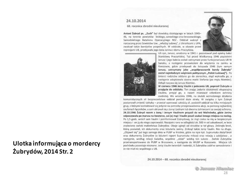 Ulotka informująca o mordercy Żubrydów, 2014 Str. 2 28