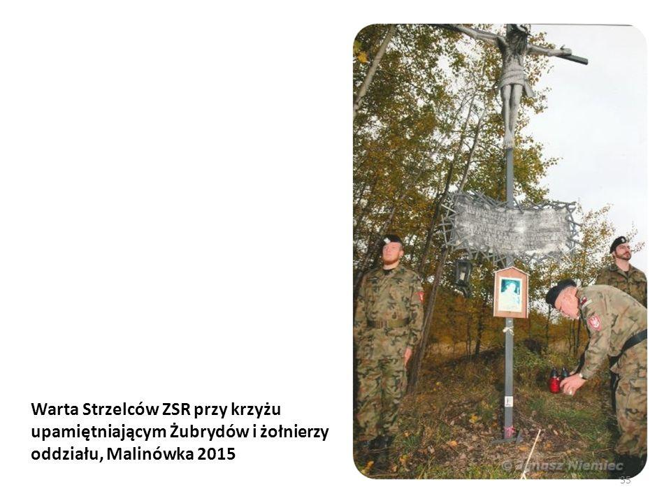 Warta Strzelców ZSR przy krzyżu upamiętniającym Żubrydów i żołnierzy oddziału, Malinówka 2015 35