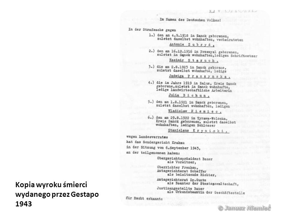 Kopia wyroku śmierci wydanego przez Gestapo 1943 8