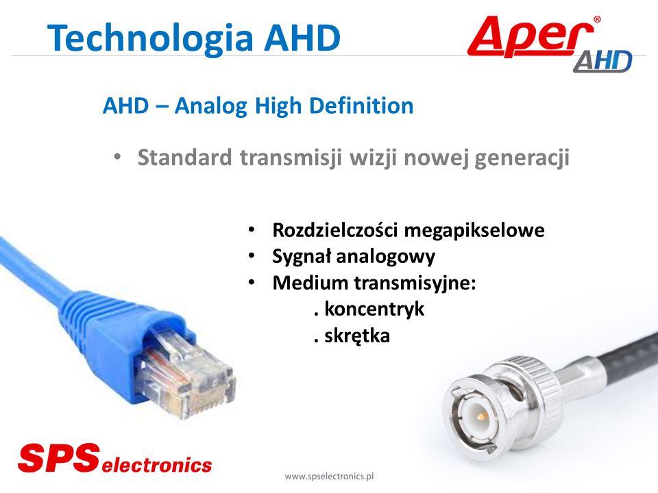 Technologia AHD Rozdzielczości megapikselowe Sygnał analogowy Medium transmisyjne:. koncentryk. skrętka Standard transmisji wizji nowej generacji AHD