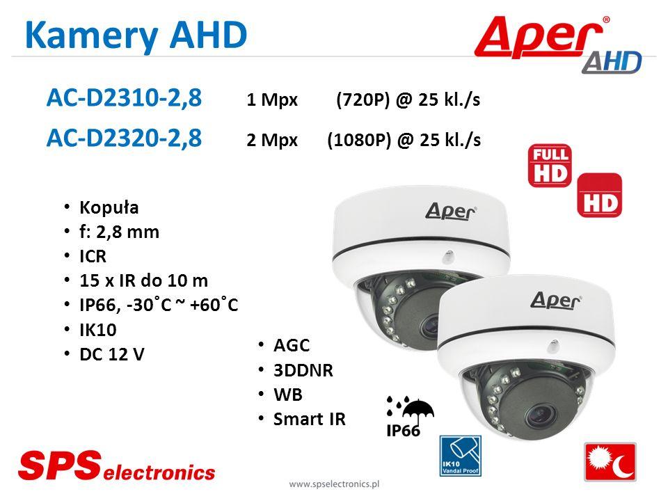 Kamery AHD AC-D2310-2,8 1 Mpx (720P) @ 25 kl./s AC-D2320-2,8 2 Mpx (1080P) @ 25 kl./s Kopuła f: 2,8 mm ICR 15 x IR do 10 m IP66, -30˚C ~ +60˚C IK10 DC