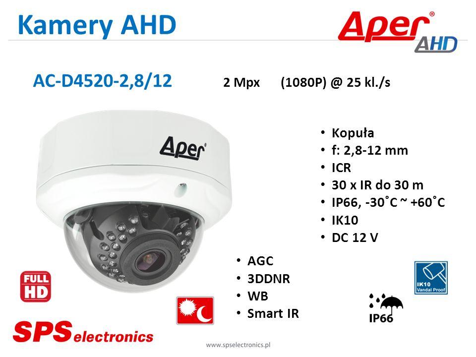 Kamery AHD AC-D4520-2,8/12 2 Mpx (1080P) @ 25 kl./s Kopuła f: 2,8-12 mm ICR 30 x IR do 30 m IP66, -30˚C ~ +60˚C IK10 DC 12 V AGC 3DDNR WB Smart IR
