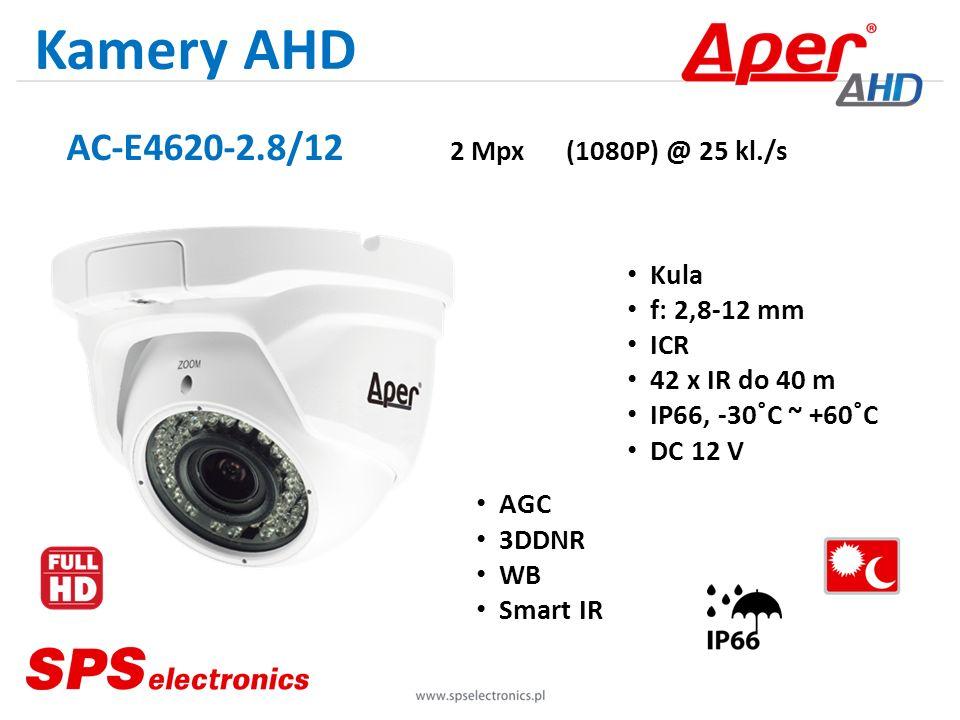 Kamery AHD AC-E4620-2.8/12 2 Mpx (1080P) @ 25 kl./s Kula f: 2,8-12 mm ICR 42 x IR do 40 m IP66, -30˚C ~ +60˚C DC 12 V AGC 3DDNR WB Smart IR