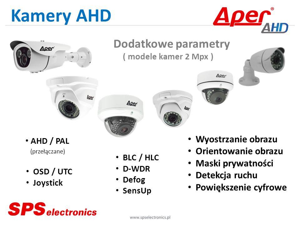 Kamery AHD Wyostrzanie obrazu Orientowanie obrazu Maski prywatności Detekcja ruchu Powiększenie cyfrowe OSD / UTC Joystick BLC / HLC D-WDR Defog SensU