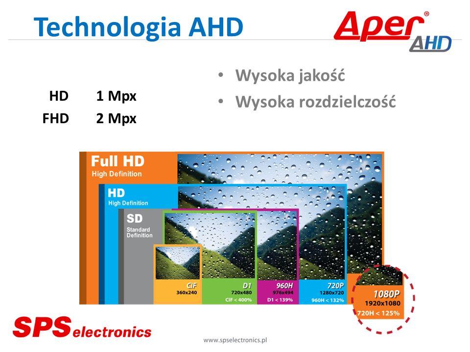 Technologia AHD Zasięgi transmisji Pasywna Aktywna UTP 200 m RG-59 300 m RG-6 400 m RG-11 500 m