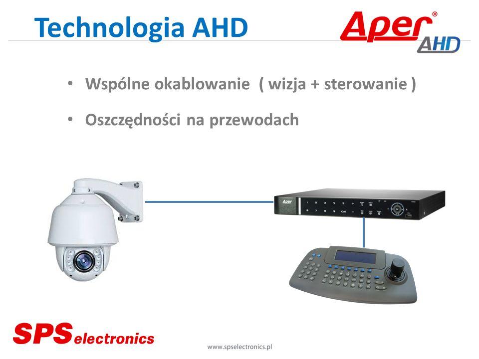 Technologia AHD Wspólne okablowanie( wizja + sterowanie ) Oszczędności na przewodach