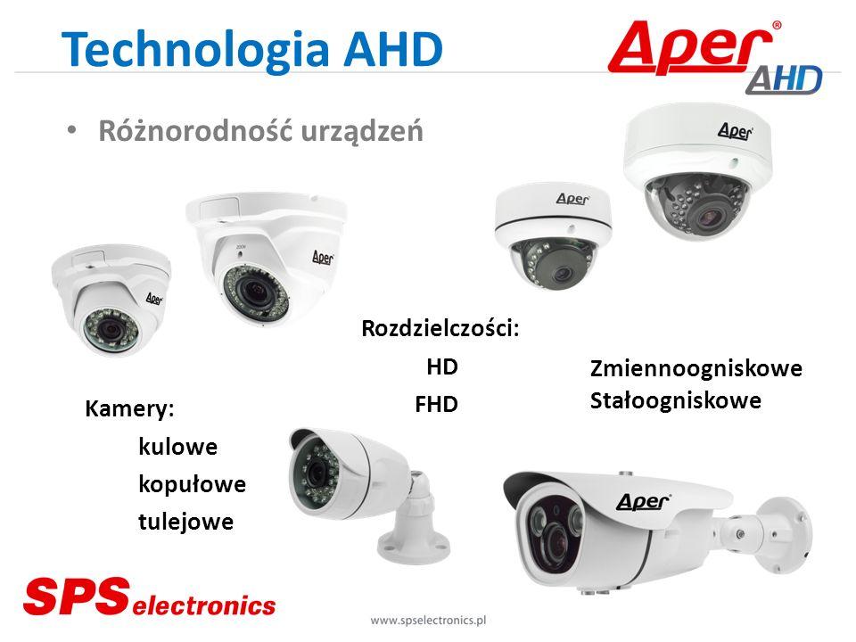 Technologia AHD Różnorodność urządzeń Kamery: kulowe kopułowe tulejowe Rozdzielczości: HD FHD Zmiennoogniskowe Stałoogniskowe