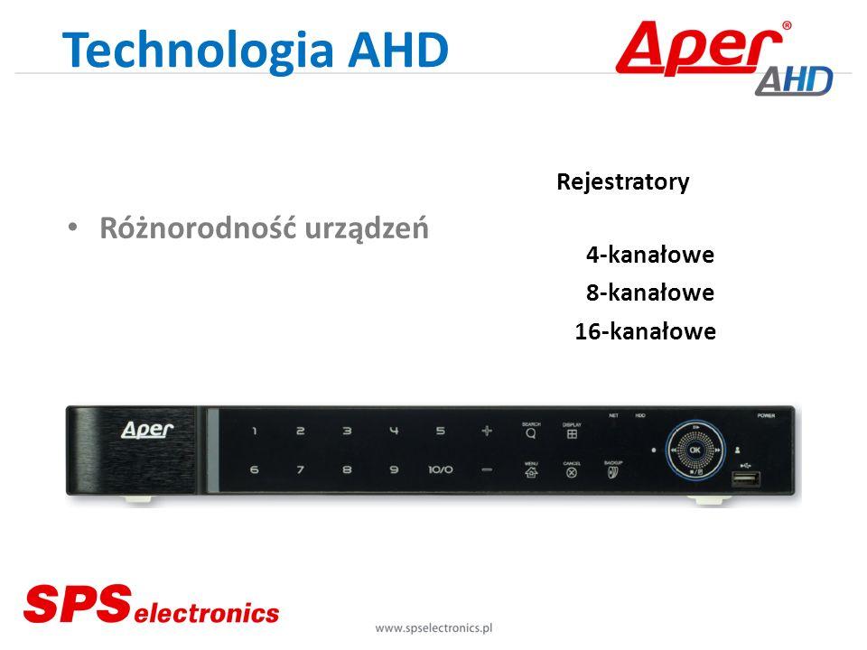 Technologia AHD Różnorodność urządzeń Rejestratory 4-kanałowe 8-kanałowe 16-kanałowe