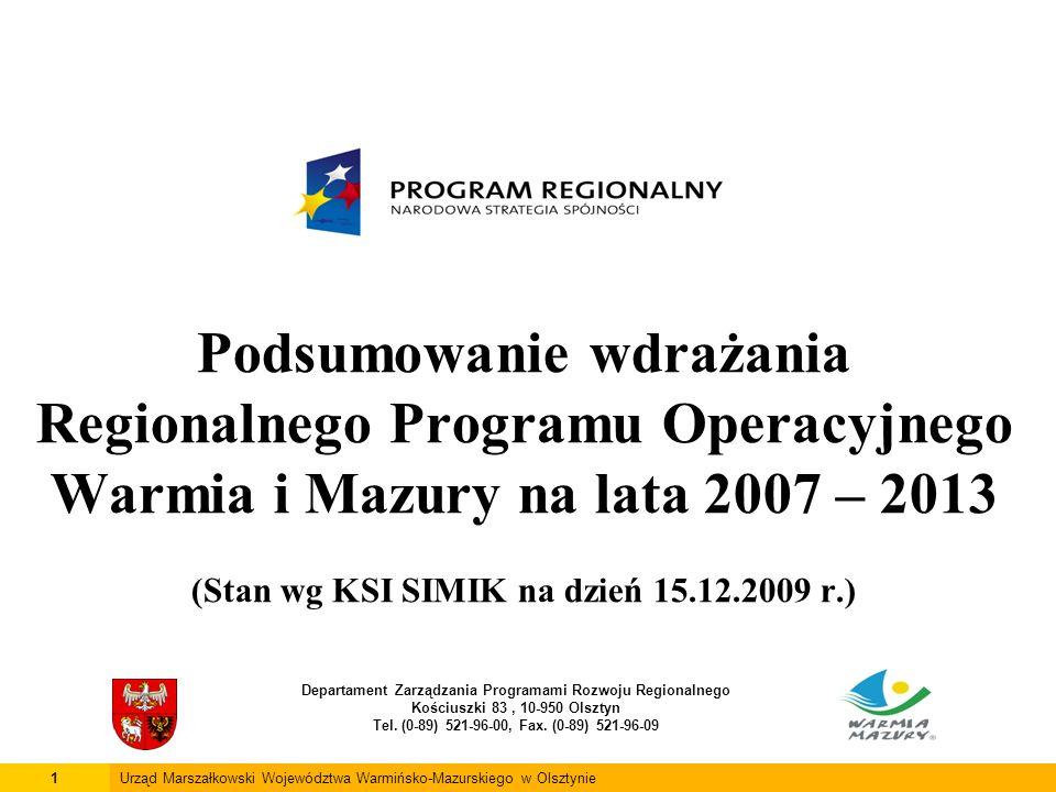 Podsumowanie wdrażania Regionalnego Programu Operacyjnego Warmia i Mazury na lata 2007 – 2013 (Stan wg KSI SIMIK na dzień 15.12.2009 r.) Departament Zarządzania Programami Rozwoju Regionalnego Kościuszki 83, 10-950 Olsztyn Tel.