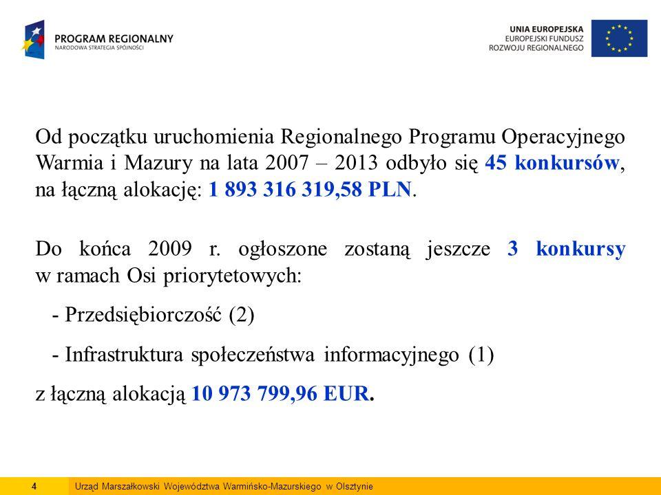 4Urząd Marszałkowski Województwa Warmińsko-Mazurskiego w Olsztynie Od początku uruchomienia Regionalnego Programu Operacyjnego Warmia i Mazury na lata 2007 – 2013 odbyło się 45 konkursów, na łączną alokację: 1 893 316 319,58 PLN.