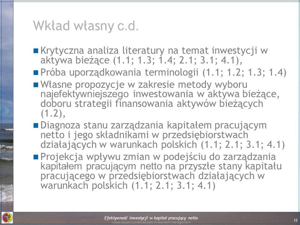 Efektywność inwestycji w kapitał pracujący netto Value-based current assets investment management 12 Wkład własny c.d. Krytyczna analiza literatury na