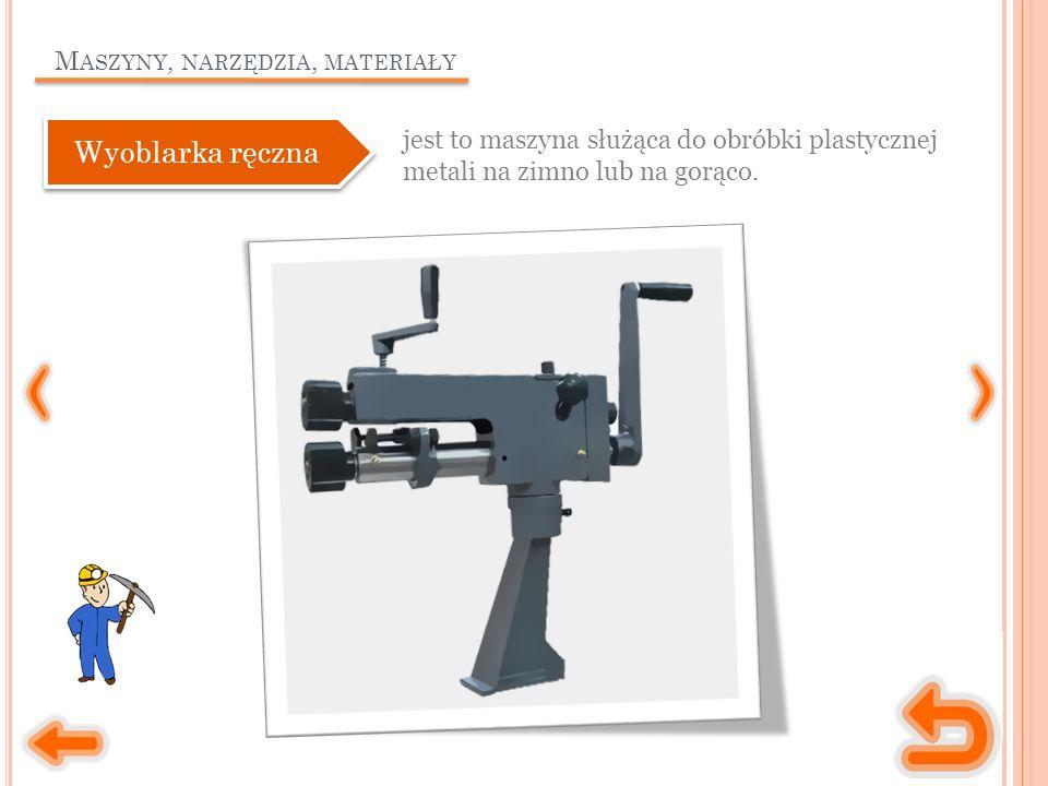 M ASZYNY, NARZĘDZIA, MATERIAŁY jest to maszyna służąca do obróbki plastycznej metali na zimno lub na gorąco.