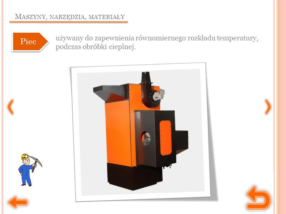 M ASZYNY, NARZĘDZIA, MATERIAŁY używany do zapewnienia równomiernego rozkładu temperatury, podczas obróbki cieplnej.