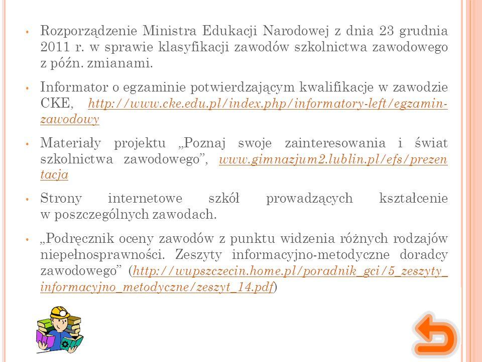 Rozporządzenie Ministra Edukacji Narodowej z dnia 23 grudnia 2011 r.