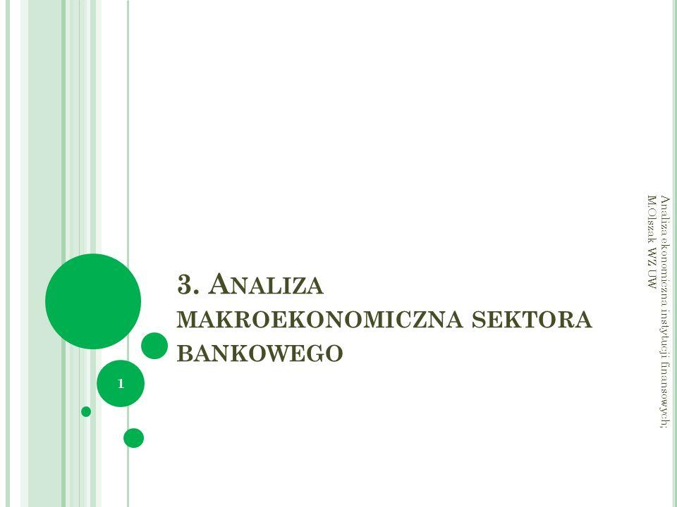 3. A NALIZA MAKROEKONOMICZNA SEKTORA BANKOWEGO Analiza ekonomiczna instytucji finansowych; M.Olszak WZ UW 1
