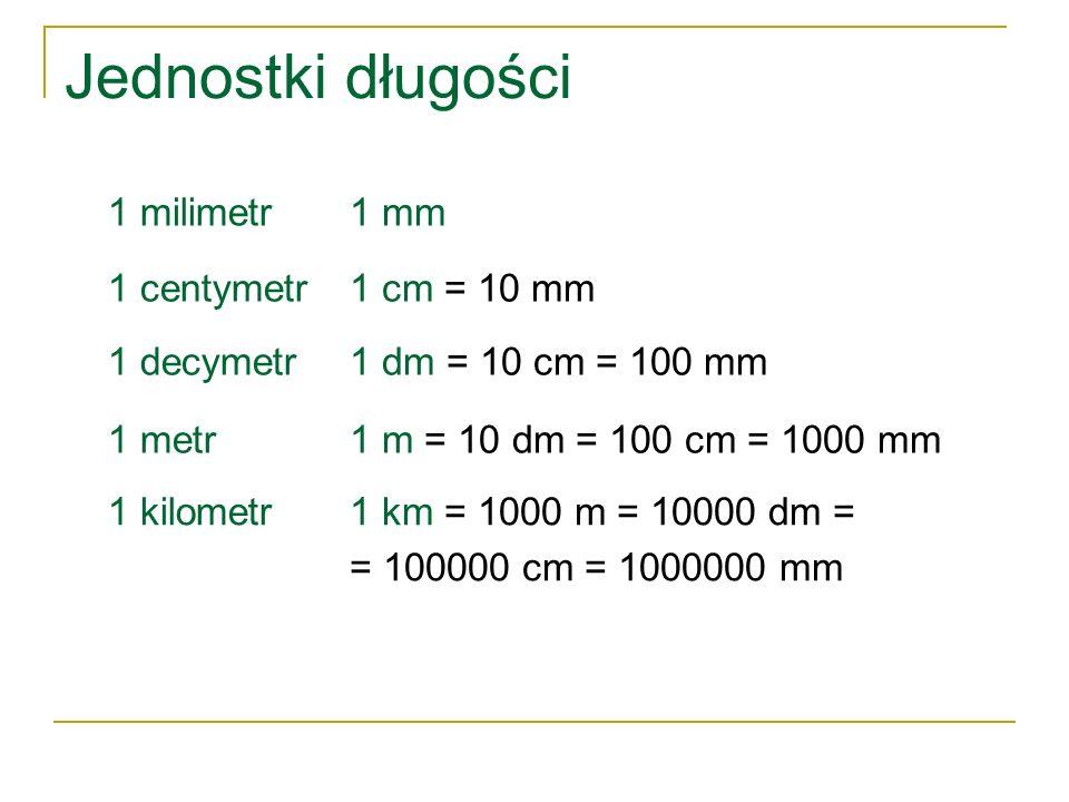 Jednostki długości 1 milimetr1 mm 1 centymetr1 cm = 10 mm 1 decymetr1 dm = 10 cm = 100 mm 1 metr1 m = 10 dm = 100 cm = 1000 mm 1 kilometr1 km = 1000 m