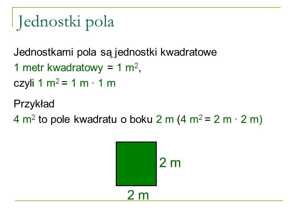 Jednostki pola Jednostkami pola są jednostki kwadratowe 1 metr kwadratowy = 1 m 2, czyli 1 m 2 = 1 m ∙ 1 m Przykład 4 m 2 to pole kwadratu o boku 2 m