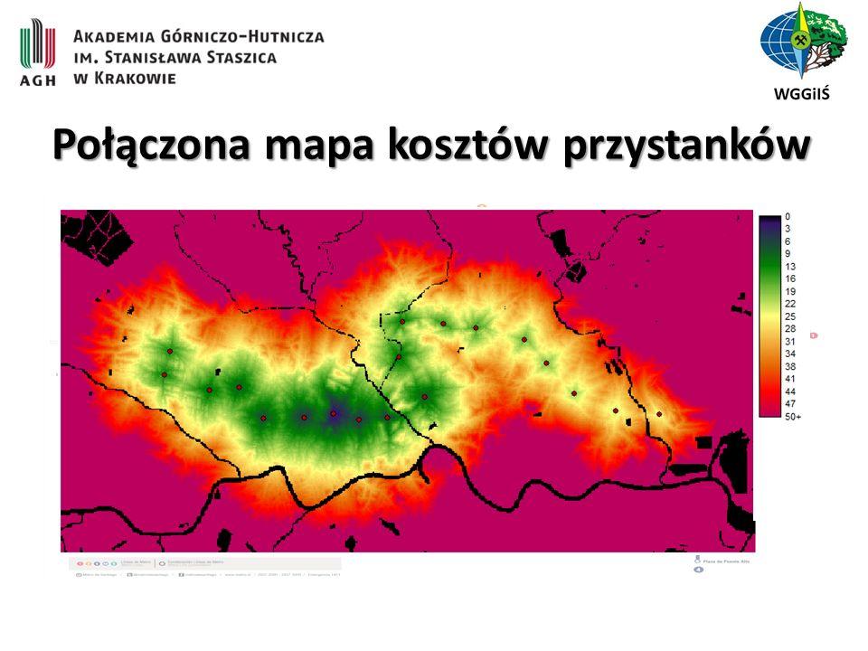 Połączona mapa kosztów przystanków