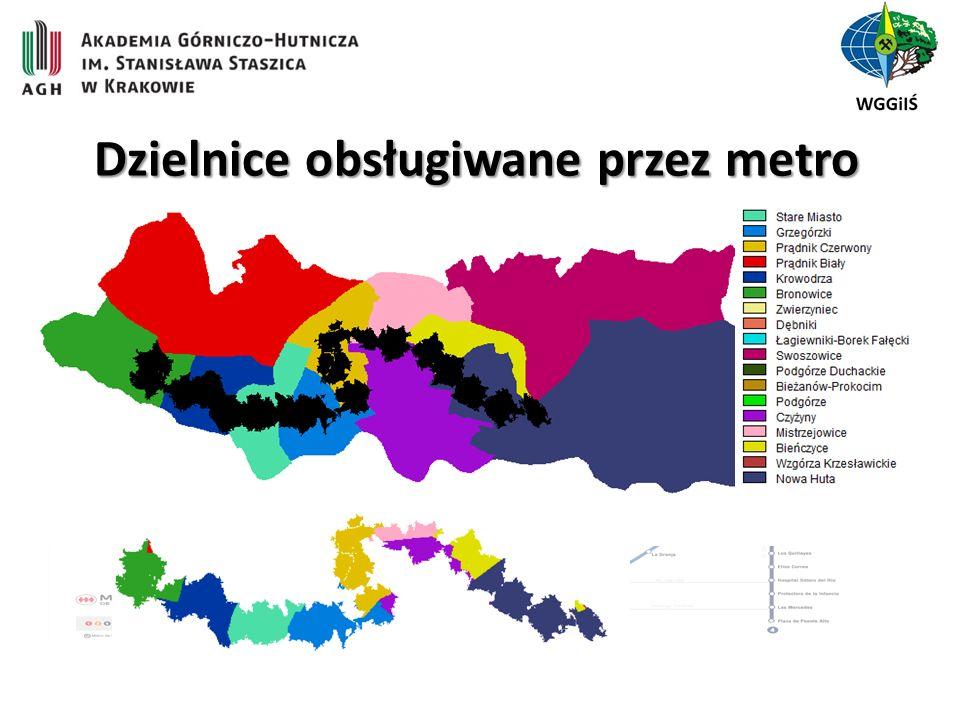 Dzielnice obsługiwane przez metro