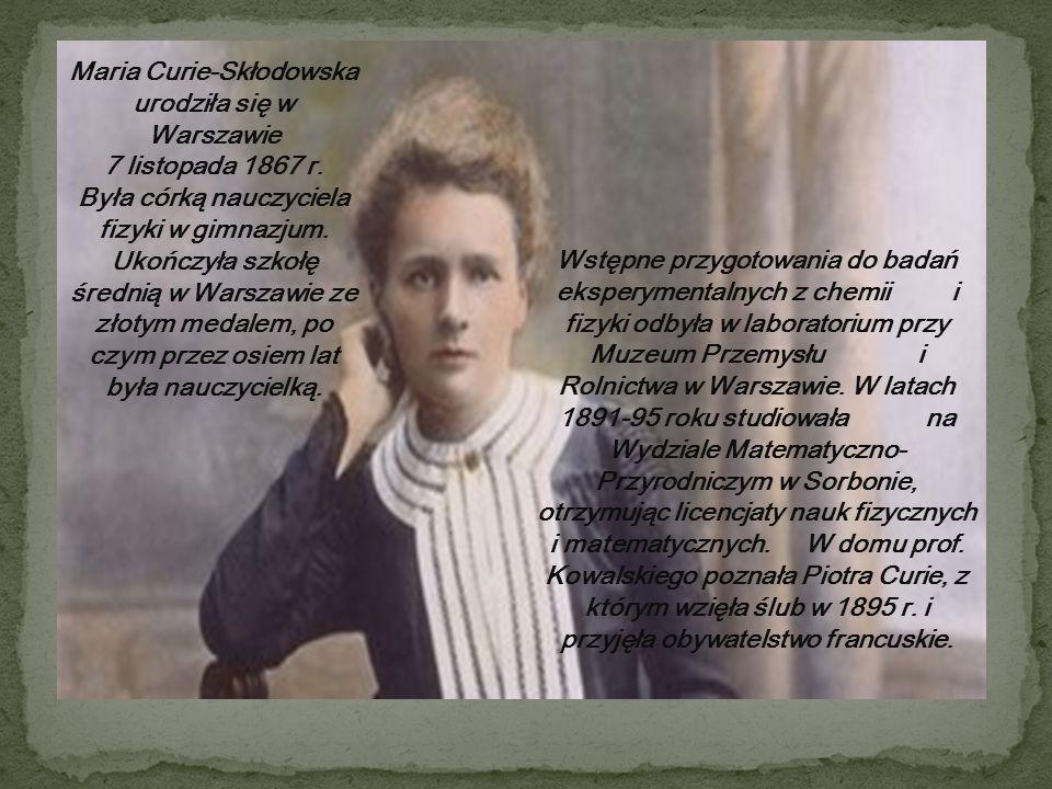 Wstępne przygotowania do badań eksperymentalnych z chemii i fizyki odbyła w laboratorium przy Muzeum Przemysłu i Rolnictwa w Warszawie.