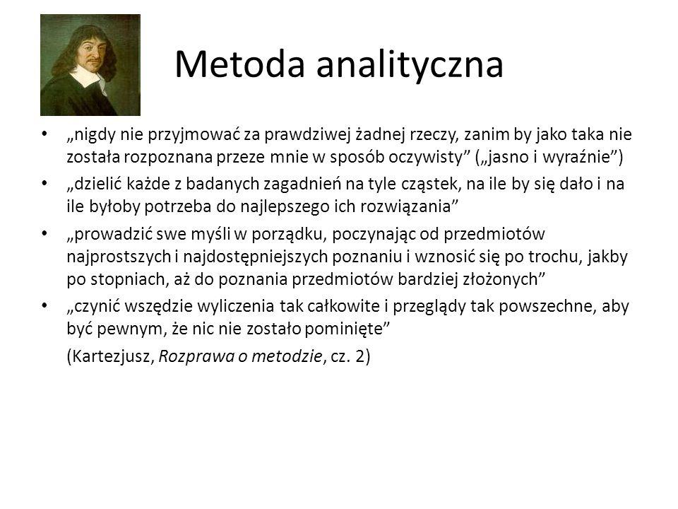 """Metoda analityczna """"nigdy nie przyjmować za prawdziwej żadnej rzeczy, zanim by jako taka nie została rozpoznana przeze mnie w sposób oczywisty"""" (""""jasn"""