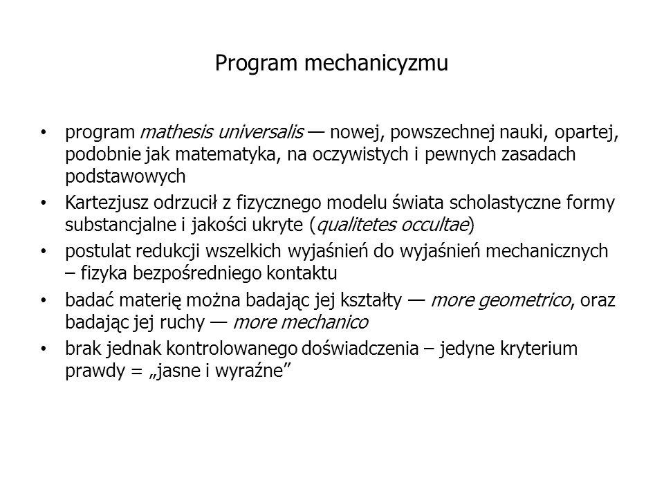 Program mechanicyzmu program mathesis universalis — nowej, powszechnej nauki, opartej, podobnie jak matematyka, na oczywistych i pewnych zasadach pods