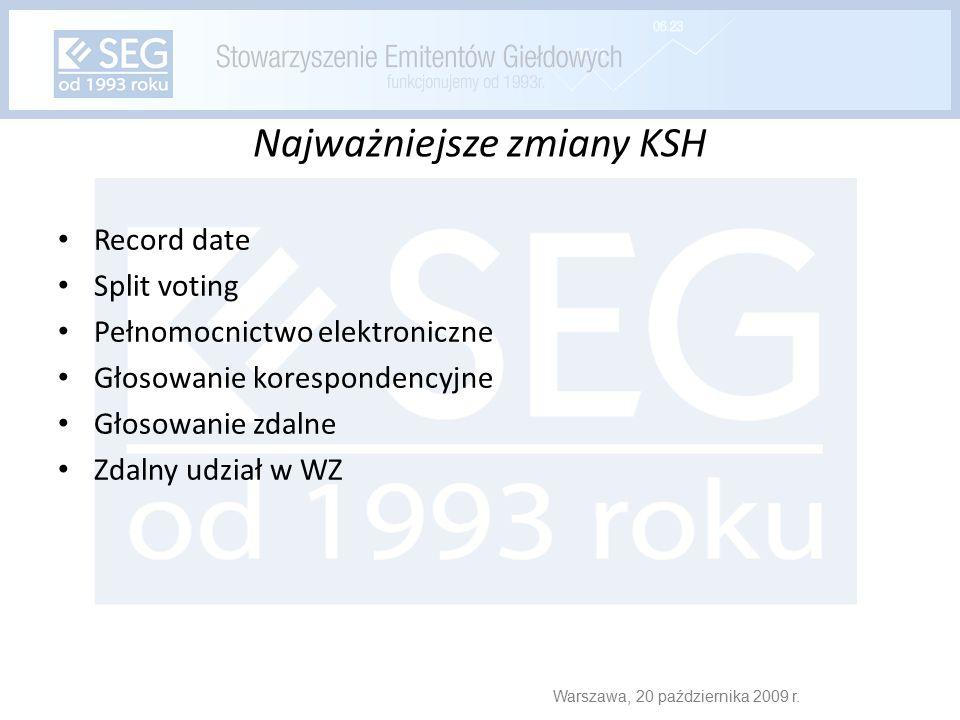 Najważniejsze zmiany KSH Record date Split voting Pełnomocnictwo elektroniczne Głosowanie korespondencyjne Głosowanie zdalne Zdalny udział w WZ Warszawa, 20 października 2009 r.