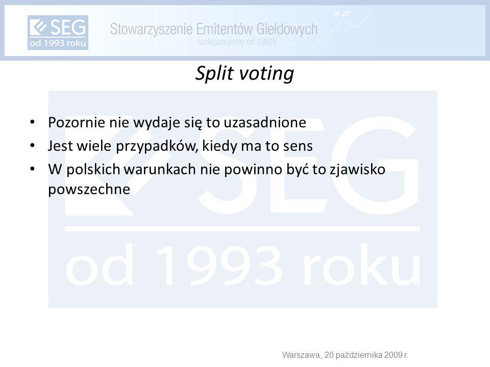 Split voting Pozornie nie wydaje się to uzasadnione Jest wiele przypadków, kiedy ma to sens W polskich warunkach nie powinno być to zjawisko powszechne Warszawa, 20 października 2009 r.