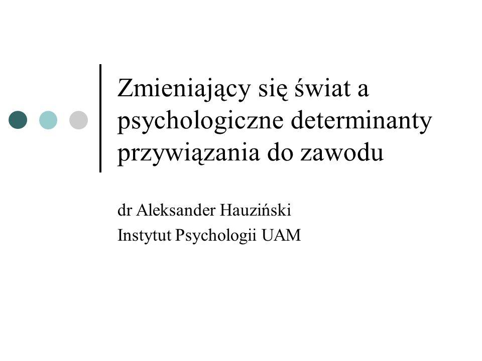 Zmieniający się świat a psychologiczne determinanty przywiązania do zawodu dr Aleksander Hauziński Instytut Psychologii UAM