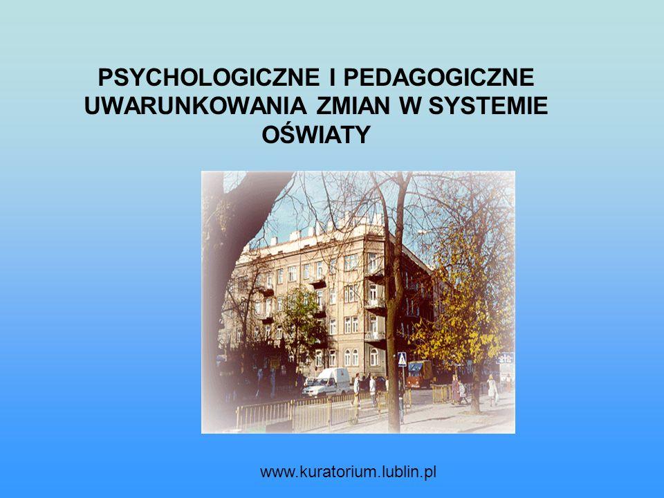 PSYCHOLOGICZNE I PEDAGOGICZNE UWARUNKOWANIA ZMIAN W SYSTEMIE OŚWIATY www.kuratorium.lublin.pl