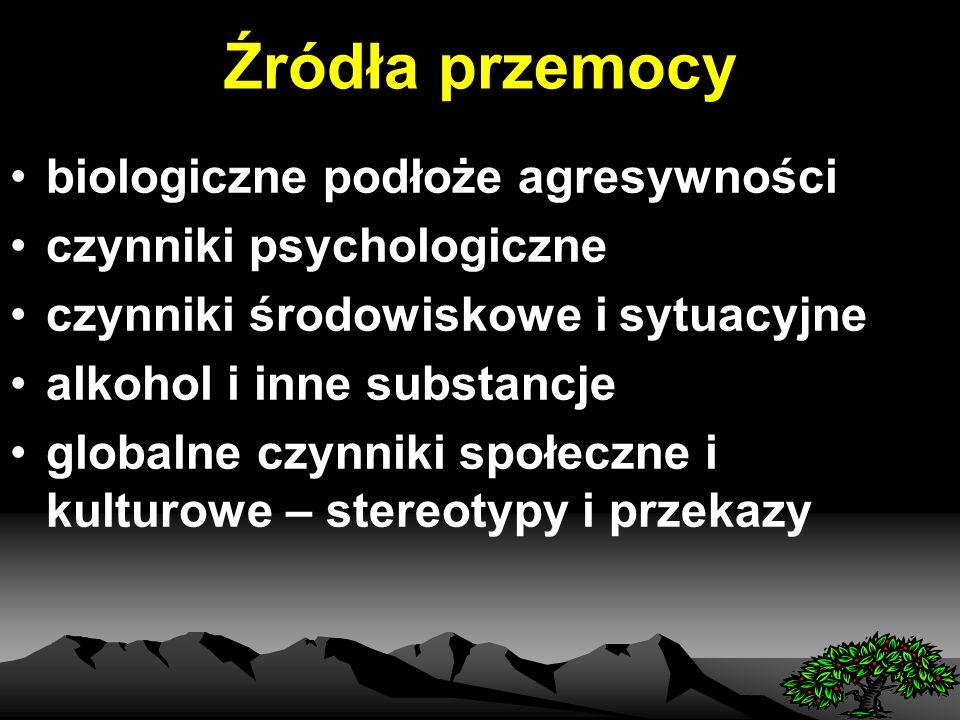 Źródła przemocy biologiczne podłoże agresywności czynniki psychologiczne czynniki środowiskowe i sytuacyjne alkohol i inne substancje globalne czynniki społeczne i kulturowe – stereotypy i przekazy