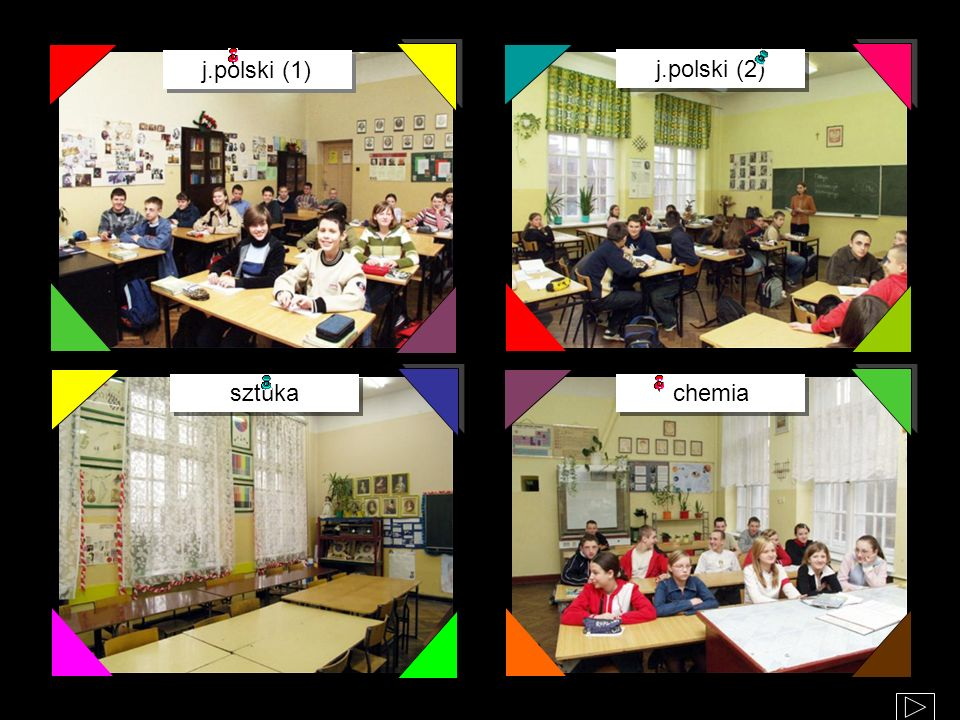 Staramy się, aby w szkole było wesoło i kolorowo – każda klasa ma swój niepowtarzalny wystrój i charakter, różne kolory mają także korytarze. j.polski