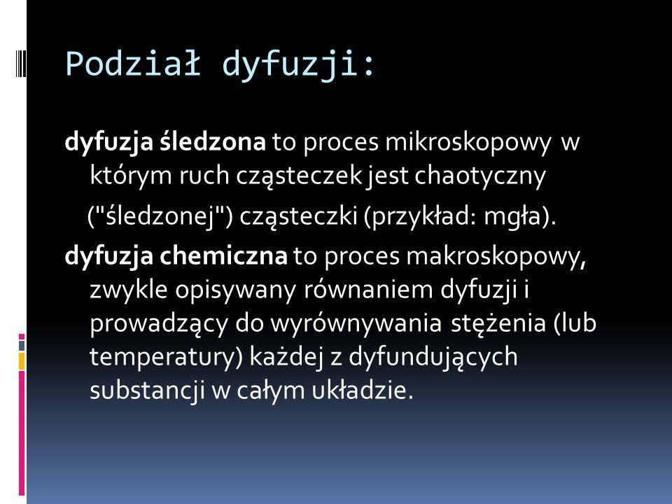 Parametry opisujące dyfuzje: Podstawowym cechą opisującym dyfuzję jest współczynnik dyfuzji.