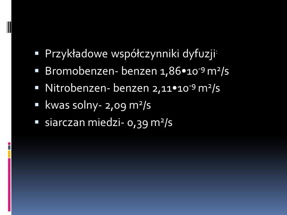  Przykładowe współczynniki dyfuzji :  Bromobenzen- benzen 1,8610 -9 m 2 /s  Nitrobenzen- benzen 2,1110 -9 m 2 /s  kwas solny- 2,09 m 2 /s  siarcz