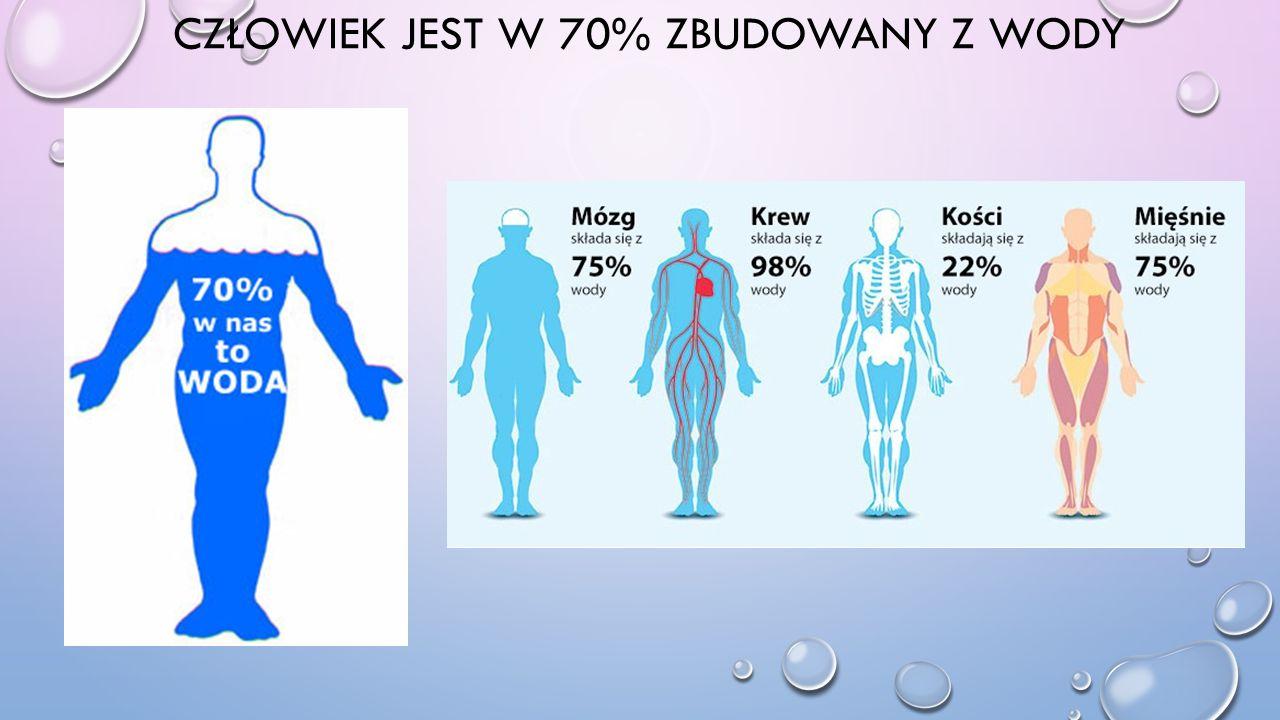 CZŁOWIEK JEST W 70% ZBUDOWANY Z WODY