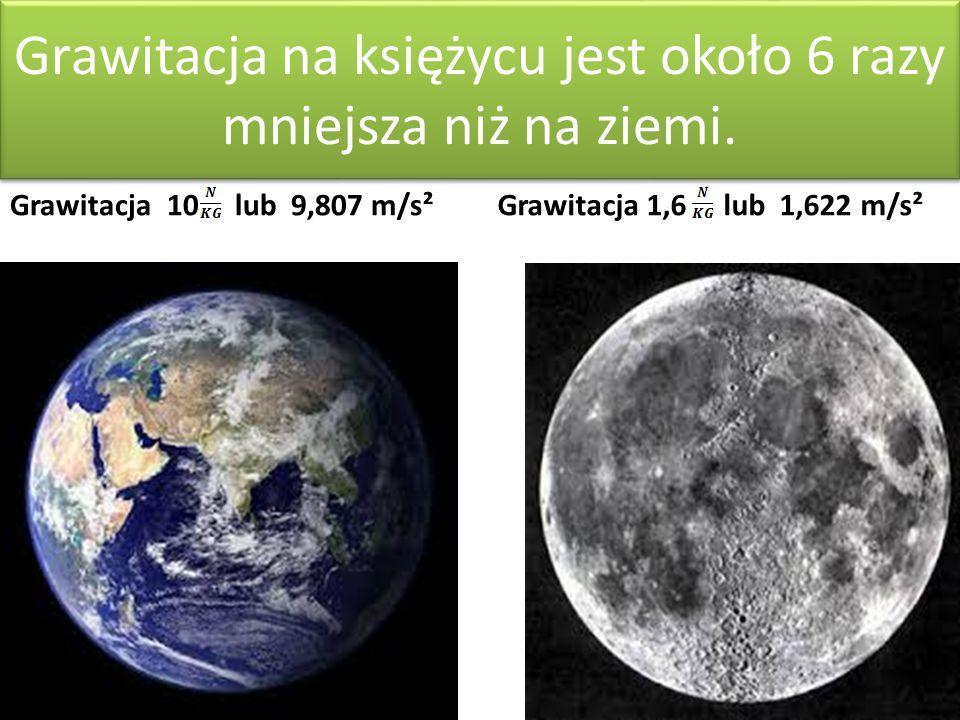 Grawitacja na księżycu jest około 6 razy mniejsza niż na ziemi.