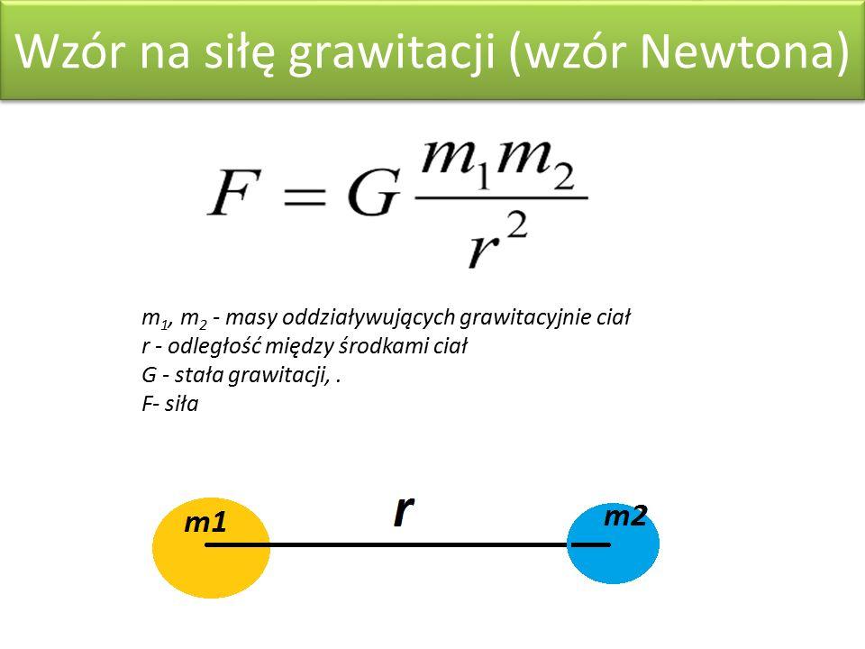 Wzór na siłę grawitacji (wzór Newtona) m 1, m 2 - masy oddziaływujących grawitacyjnie ciał r - odległość między środkami ciał G - stała grawitacji,.